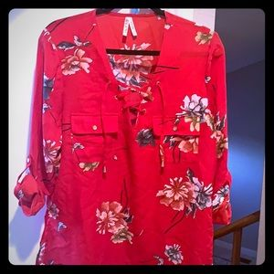 Red Floral a Blouse